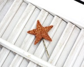 lucky star hair pin / copper german glass star bobby pin /  glitter hair accessory / theLOVEstitch
