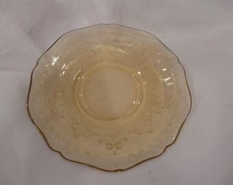 Patrician Spoke Saucer Federal Glass Golden Glo Vintage