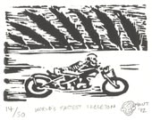 World's Fastest Skeleton - Motorcycle Linocut (Woodcut ish) Print - Harley / Indian