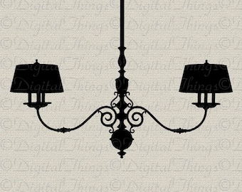 French Chandelier Silhouette French Decor Wall Decor Art Printable Digital Download for Iron on Transfer Fabric Pillows Tea Towels DT364