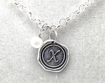 Wax Seal Initial Charm Necklace, Choose Letter & Crystal,  18""