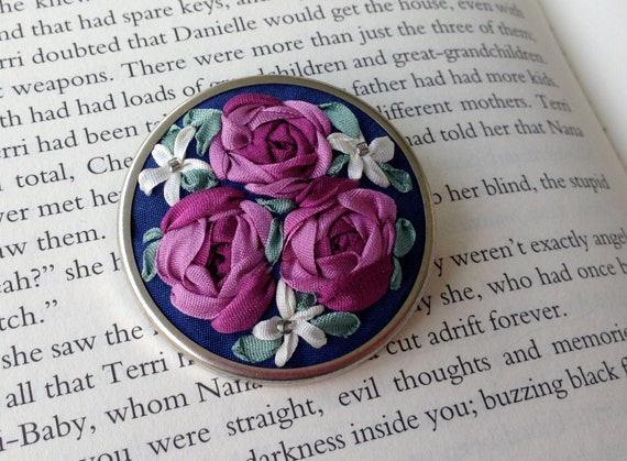 CYBER MONDAY - Magenta and Blue Hand Embroidered Silk Ribbon Brooch - Silk Ribbon Embroidery by BeanTown Embroidery