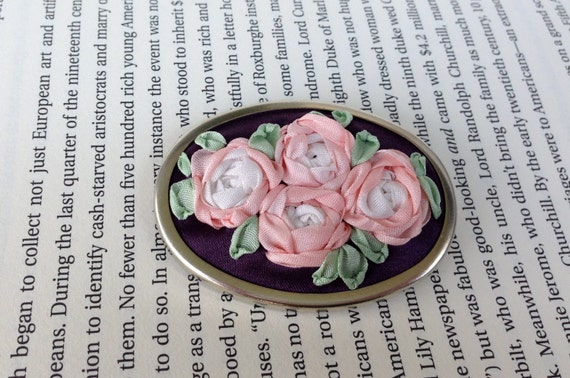 Pink Roses Embroidered Pin - Silk Ribbon Embroidery by BeanTown Embroidery