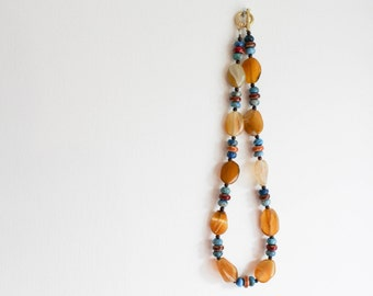 Yellow Agate Necklace - colorful ceramic beads and yellow banded agate