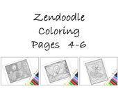 Zentangle Inspired Coloring Pages, Printable Zentangle Inspired Pages 4-6 Instant Downloads