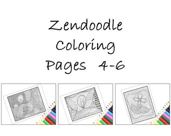 Downloadable Zentangle Inspired Coloring Pages, Printable Zentangle Inspired Pages 4-6