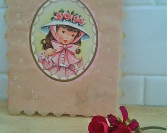 Vintage Birthday Card Girl Pink 1940's
