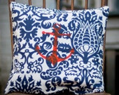 Ready to Ship, Blue Amsterdam Pillow cover w/ Red Anchor