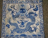 vintage-dragon, silk  embroidery pillow covers,cushion covers,white and blue dragon