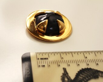 Givenchy Modernist   Goldtone  Brooch/Pin with Dark Purple   Lucite insert