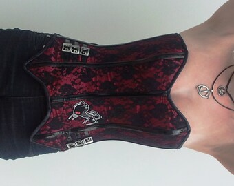 OOAK Dark Red Satin & Lace Corset with Black PVC Trim and Spider Detail Waspie Boned Corset Waist Gothic Punk Alternative