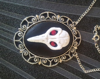 Handmade Raven Skull Cameo Pendant on a Silver Tone Chain Gothic Steampunk Emo Punk