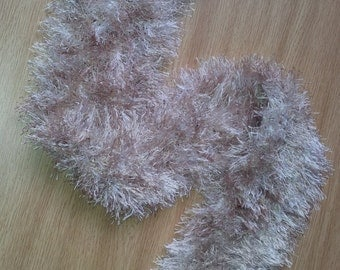 Small pale brown tan furry scarf