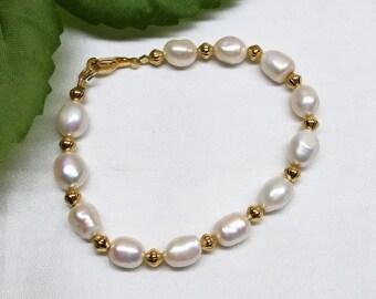 14k Gold White Pearl Bracelet 14k Gold Filled Bracelet or 14k Gold Plate Bracelet Freshwater Baroque Pearl Strand Bracelet BuyAny3+Get1Free
