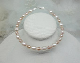 Pink and White Pearl Bracelet Pink Pearl Bracelet Heart Bracelet Cross Bracelet Adjustable Bracelet 925 Sterling Silver Bracelet Buy3+1Free