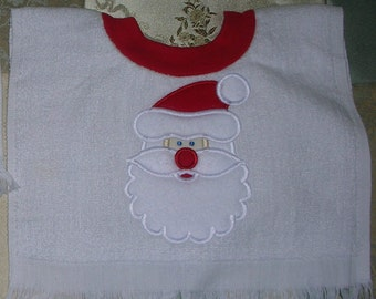 Santa Face Embroidered Pullover Towel Bib
