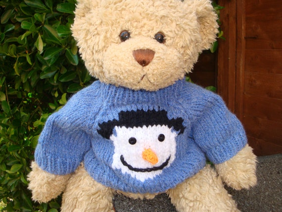 Patterns For Knit Fabrics : Items similar to Christmas Teddy Bear Sweater - Hand knitted - Snowman - fits...