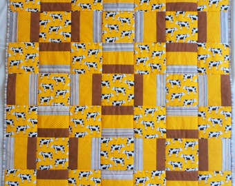 Cow Quilt, Yellow Quilt, Brown Quilt, Black and White Cows, Striped Quilt, Farm Animal Quilt, Barnyard Quilt, Black and White Quilt