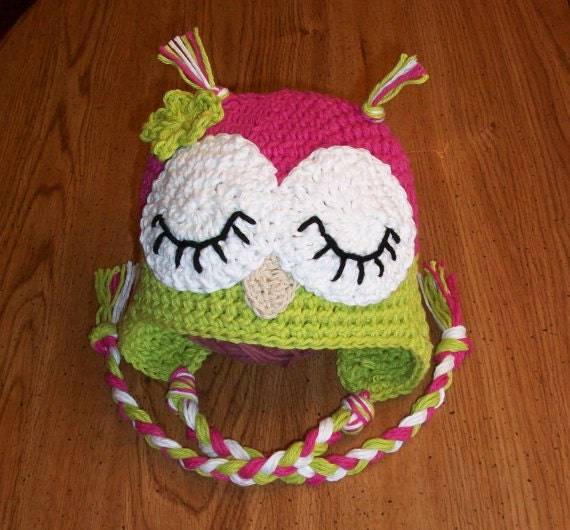 Pattern Sleepy Owl Hat Crochet 4 Sizes Newborn by ...
