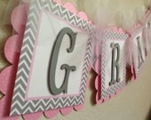 Pink and Grey Chevron Baby Shower or Birthday Name Banner