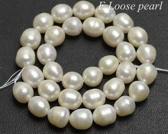 Rice pearl Large Hole Freshwater Pearls wholesale pearl Loose Pearls Rice pearl necklace,Natural White 10-11mm 32pcs Full Strand PL6190