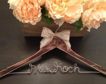 Rustic Bridal Hanger / Shabby Chic Wedding Hanger / Brides Hanger / Distressed Hanger / Rustic Wedding / Engraved Wedding Hanger