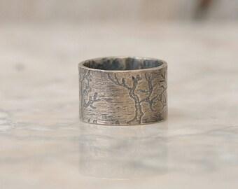 Mens Wedding Band - Tree Ring - Tree of Life - Silver Tree Ring - Tree Ring Man Wedding Band - Mens Rings