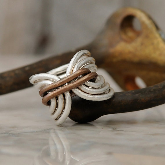 Boho Ring - Bohemian Ring - Hippie Ring - Unique Fine Silver Ring - Fine Silver and Copper