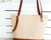Canvas Tan Tote Bag Leather Bottom  -  Shoulder bag / Tote Bag / Diaper Bag /School bag