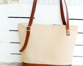 Canvas Tan Tote Bag Leather Bottom  -  Shoulder bag / Tote Bag / Diaper Bag /School bag