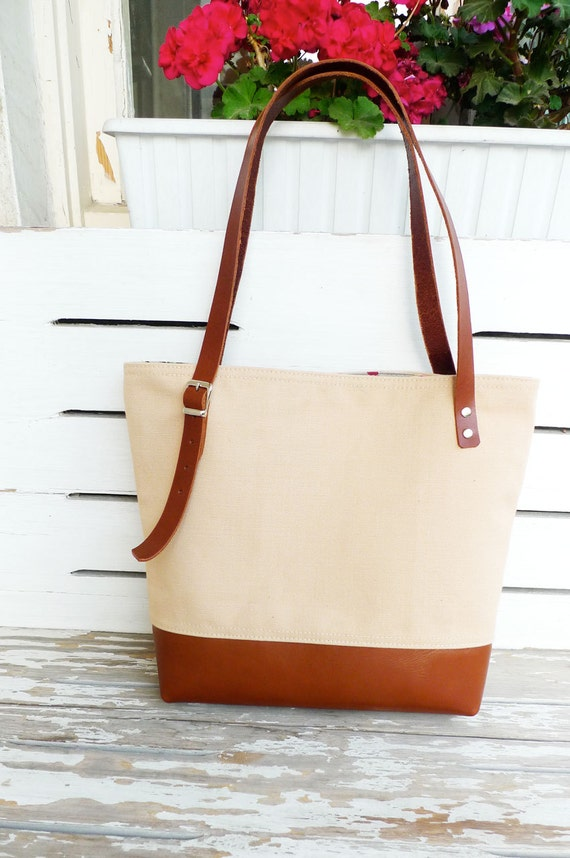 Items similar to Canvas Tan Tote Bag Leather Bottom - Shoulder bag ...
