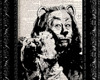 Wizard Of Oz - Cowardly Lion - Dictionary Print Vintage Book Print Page Art Upcycled Vintage Book Art