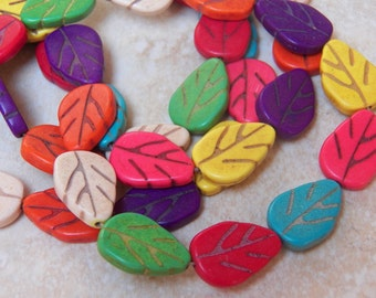 18X12mm Assorted Howlite Leaf Gemstone Beads, Full Strand (INDOC815)