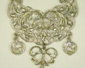 Vintage filigree jewelry pendant silver metal Mixed Media Art Part