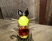 RESERVED VIntage Fashion Cat Brooch - Rhinestone Topaz Cat Eye