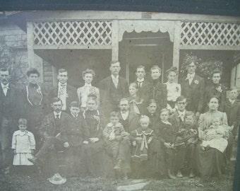 Large Mounted Photo - Cabinet Card - Formal Family Gathering - Wheeling WV