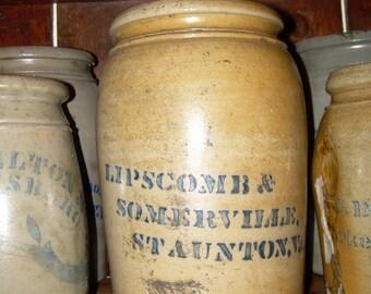 Antique 2 Gallon Stoneware Crock - Staunton VA - Lipscomb & Somerville - Donaghho
