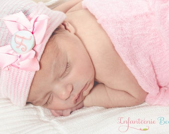 NEWBORN HAT, newborn girl, newborn girl hat, baby girl hat, hospital newborn hat, newborn hat, her first bow, baby hat, baby bow