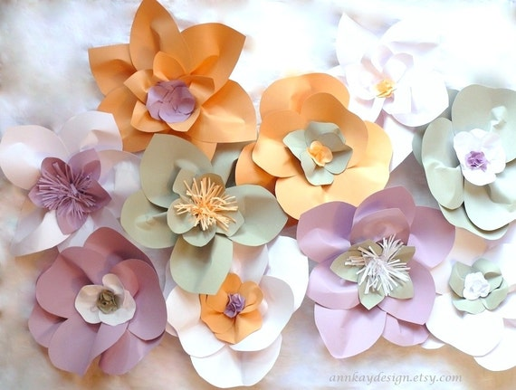 Items Similar To Large Paper Flowers Wedding Backdrop Arch Or Wall Decor Set Of 10 On Etsy