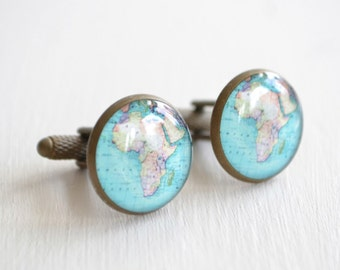 Africa Map Cufflinks / vintage map brass cuff links - mens heirloom jewelry gift handmade in the USA