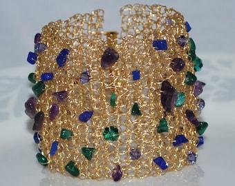 Multi Gemstone Bracelet, Crocheted Wire Beaded Cuff Bracelet, Crochet Wire Bracelet, Crochet Wire Jewelry, Multicolor Gemstones