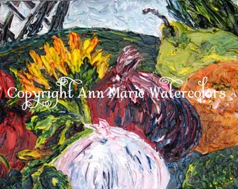 Still life, fruit and vegetable plate, oil painting