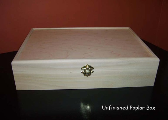 Unfinished Wooden Cigar Box W Hinges And By
