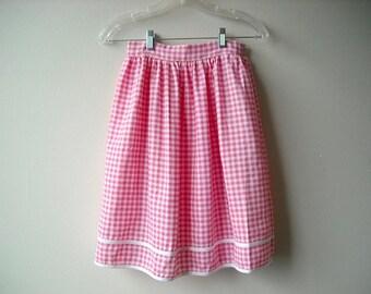 Vintage Pink Gingham Picnic Skirt