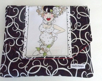 iPad Case - iPad Padded Case -Girly Girl - iPad Cover - iPad Sleeve - iPad Envelope Case - Black and White