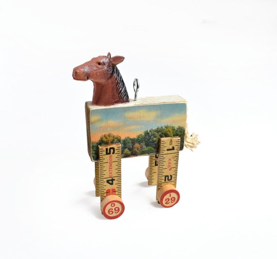 horse ornament handmade original Daydreamer  by Elizabeth Rosen