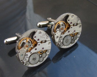 Steampunk Jewelry Steampunk Cufflinks with vintage watch movements Mens Cuff Links Gift for Him under 25 Dollars Mens gift ideas