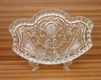 Vintage Dressing Table Tray, Clear Cut Glass Dressing Table Tray, UK Seller