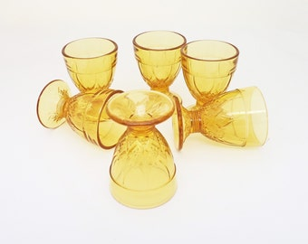 Vintage Amber Glass Sherry Glasses, Set of 6 Liquor Glasses, UK Seller