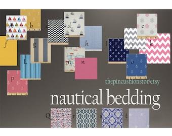 Custom Design Baby Bedding Crib bumper and Crib skirt  Set /  /  Nautical Toddler Blanket Set